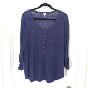 Splendid Purple Finely Striped Semi Sheer Knit Top